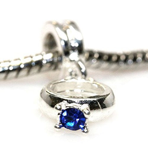 Blue  Rhinestone Engagement Ring Dangle European Bead Compatible for Most European Snake Chain Bracelets
