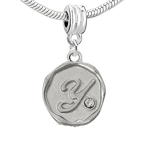 Alphabet Letter Y Carved with Clear  Crystals Charm Dangle Bead Compatible with European Snake Chain Bracelets
