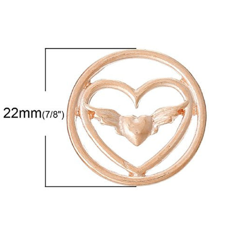 Heart With Wings Floating Charms Dish Plate for Glass Locket Pendants - Sexy Sparkles Fashion Jewelry - 2