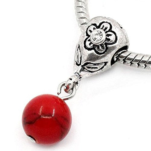 Red Dangle Ball with Rhinestones Bead Charm Spacer for Snake Chain Charm Bracelets