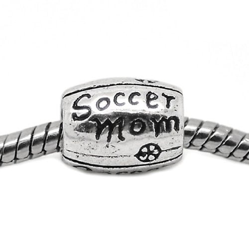 Design Soccer Mom European Bead Compatible for Most European Snake Chain Charm Bracelet - Sexy Sparkles Fashion Jewelry - 1