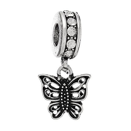 Butterfly w/ Clear  Crystals Charm Bead