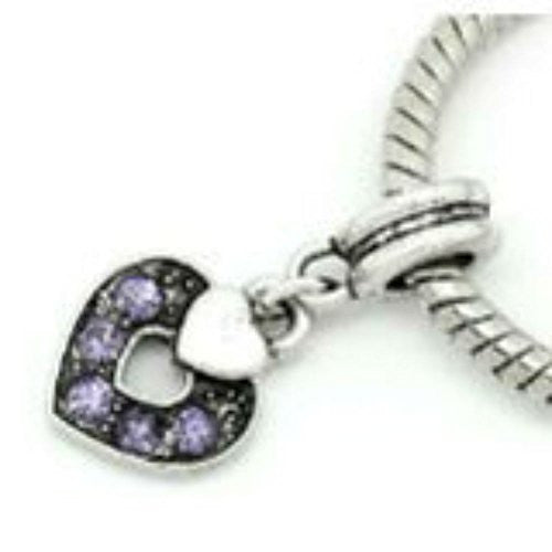 Heart W/Purple  Crystals Bead Compatible for Most European Snake Chain Bracelet
