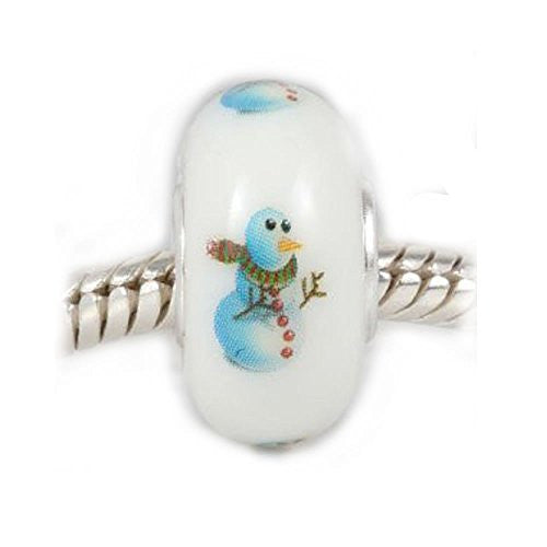 Christmas Snowman Murano Glass European Bead Compatible for Most European Snake Chain Bracelet - Sexy Sparkles Fashion Jewelry