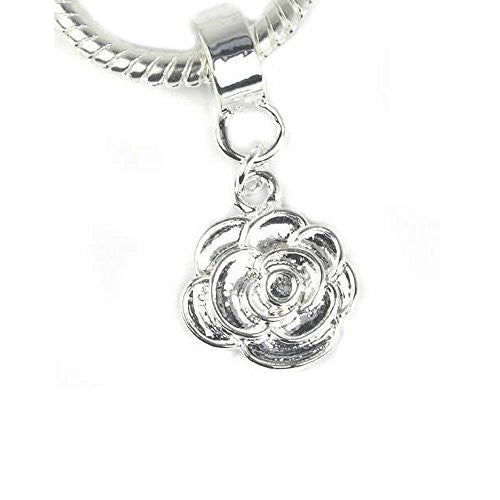 Rose Flower Dangle European Bead Compatible for Most European Snake Chain Charm Bracelet