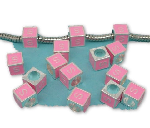 """S"" Letter Square Charm Beads Pink Enamel European Bead Compatible for Most European Snake Chain Charm Bracelets - Sexy Sparkles Fashion Jewelry"