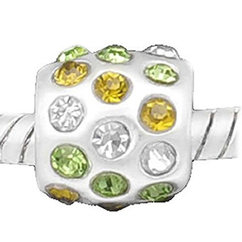 Light Green, Yellow W/clear Created Crystals Silver Tone European Bead Compatible for Most European Snake Chain Bracelet