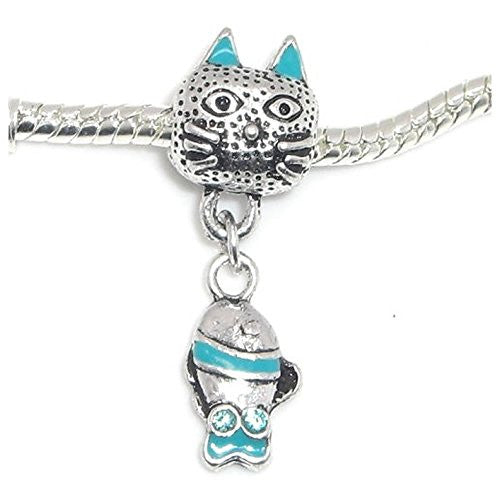 Blue Cat With Fish Bead Compatible for Most European Snake Chain Bracelet