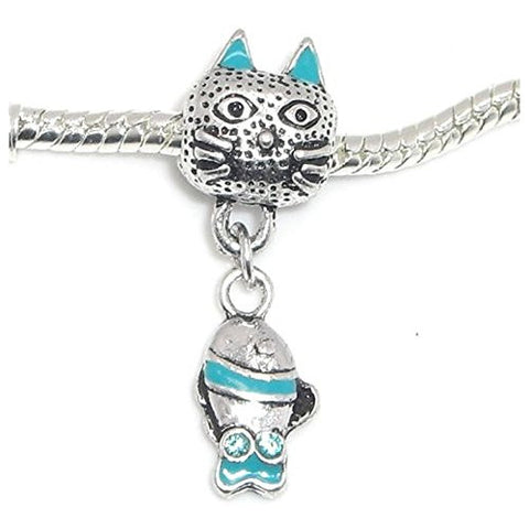 Blue Cat With Fish Bead Compatible for Most European Snake Chain Bracelet - Sexy Sparkles Fashion Jewelry - 1