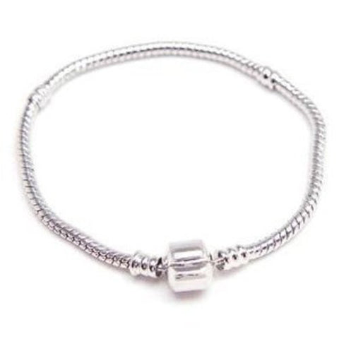 8.5 Inches Snake Chain Bead Barrel Clasp European Bracelet fits European Charms - Sexy Sparkles Fashion Jewelry - 1