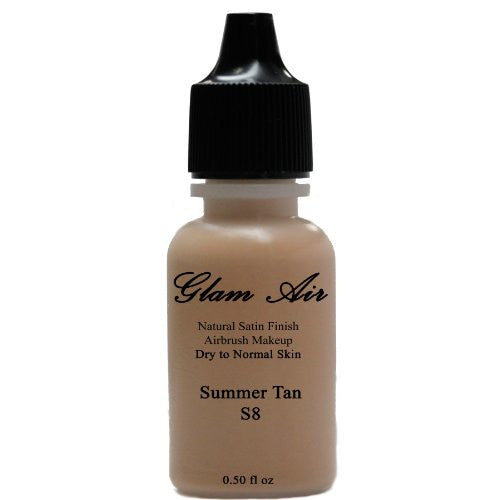 Large Bottle Airbrush Makeup Foundation Satin S8 Summer Tan Water-based Makeup Lasting All Day 0.50 Oz Bottle By Glam Air - Sexy Sparkles Fashion Jewelry - 1