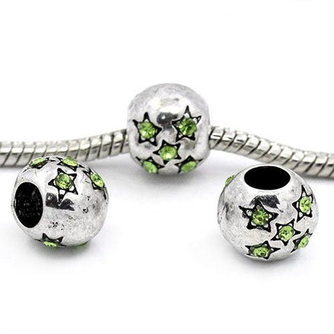 European Charm Beads Antique Silver Star Carved light Green Rhinestone - Sexy Sparkles Fashion Jewelry - 3
