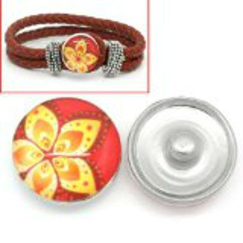 Red & Yellow Flower Design Glass Chunk Charm Button Fits Chunk Bracelet 18mm for Noosa Style Bracelet