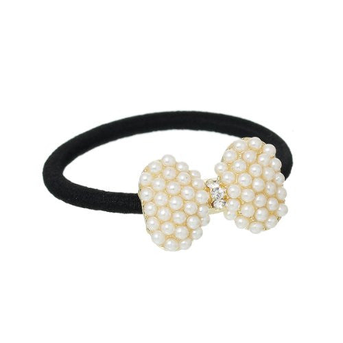 Nylon Cirlce Ring Hair Band Ponytail Holder Black Acrylic Imitation Pearl Choose Your Style From Menu (Bowknot B) - Sexy Sparkles Fashion Jewelry - 1