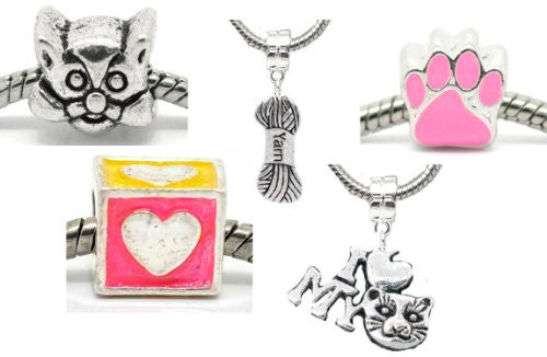 5 Cat Lovers Charm Beads For Snake Chain Bracelets