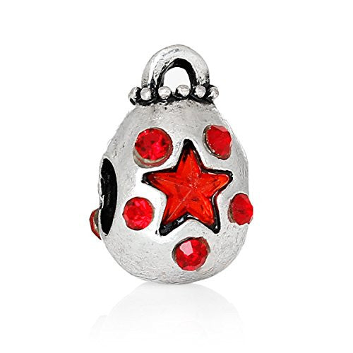 Money Bag With Red Crystals Charm Bead Spacer for European Snake Chain Charm Bracelets