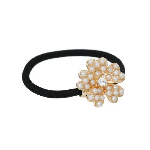 Nylon Cirlce Ring Hair Band Ponytail Holder Black Acrylic Imitation Pearl Choose Your Style From Menu (Flower A) - Sexy Sparkles Fashion Jewelry - 1