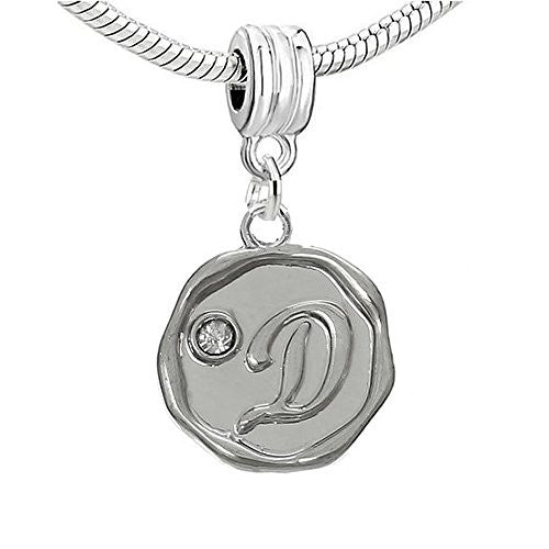 Alphabet Letter D Carved with Clear  Crystals Charm Dangle Bead Compatible with European Snake Chain Bracelets