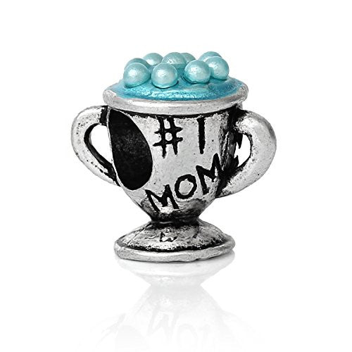 Mothers Day #1 Mom Trohy Charm With Blue Beads for snake chain charm Bracelet