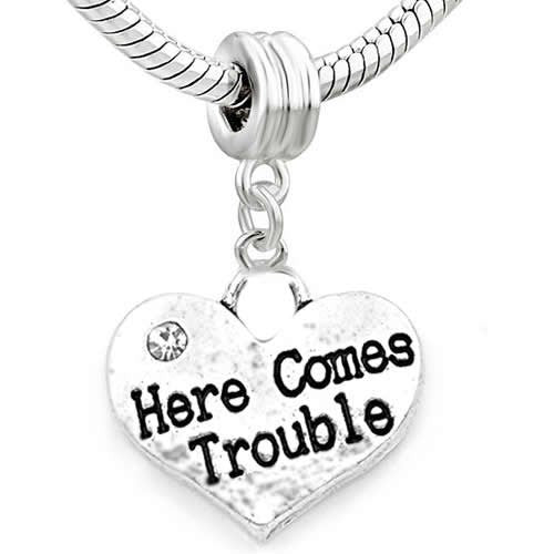Family Hearts Charm Bead for Snake Chain Bracelet (Here Comes Trouble)
