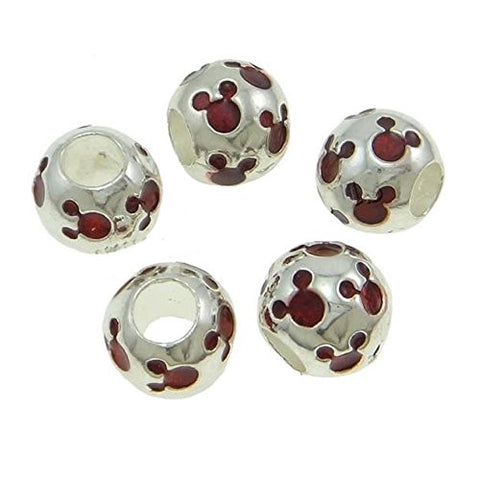 Red Mickey Mouse Charm Spacer European Bead Compatible for Most European Snake Chain Bracelets - Sexy Sparkles Fashion Jewelry - 3