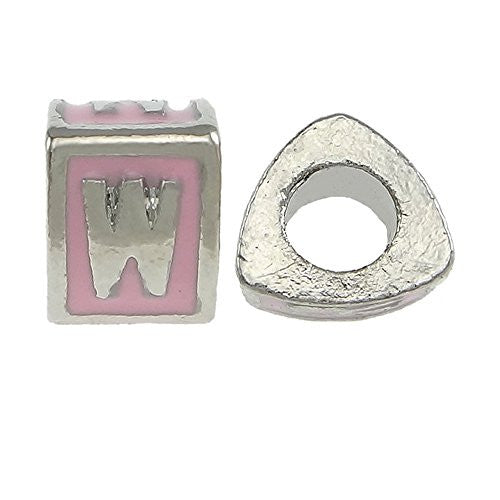 """W"" Letter Triangle Charm Beads Pink Spacer for Snake Chain Charm Bracelet"