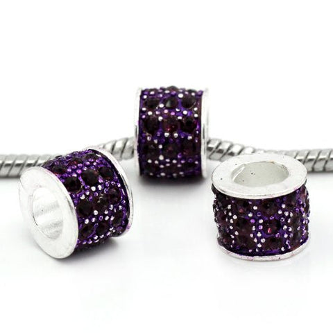 Purple Sparkly Charm w/ Rhinestones for Snake Chain Charm Bracelets - Sexy Sparkles Fashion Jewelry - 3
