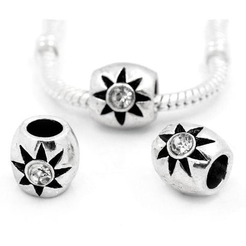 European Charm Beads Column Antique Silver Flower Carved Clear Rhinestone - Sexy Sparkles Fashion Jewelry - 3