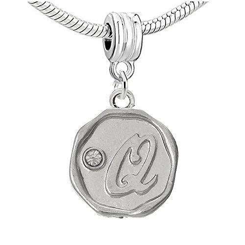 Alphabet Letter Q Carved with Clear  Crystals Charm Dangle Bead Compatible with European Snake Chain Bracelets