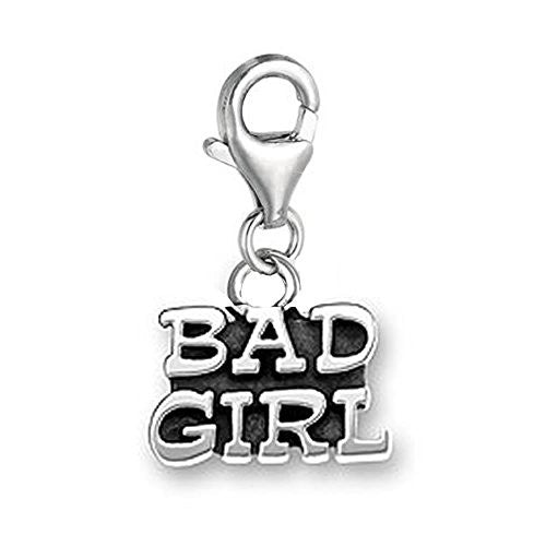 Bad Girl Dangle Pendant for European Clip on Charm Jewelry w/ Lobster Clasp
