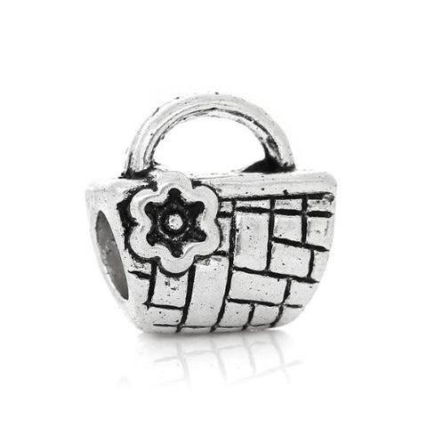 Picnic Basket Charm Compatible with Snake Chain Charm Bracelet - Sexy Sparkles Fashion Jewelry - 1
