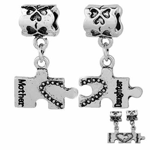 1 Pair Mothers Day Gift Mother Daughter Charms Heart Puzzle European Bead Compatible for Most European Snake Chain Bracelet - Sexy Sparkles Fashion Jewelry - 3