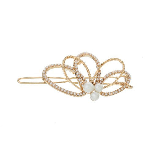 Hair Pin Clips Rose Gold Tone with Imitaiton Pearls Choose Your Design From Menu (Flower 6.3cm X 3.2cm) - Sexy Sparkles Fashion Jewelry