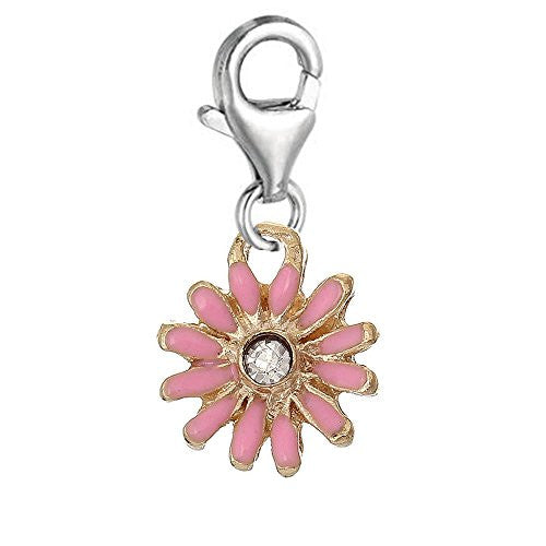 Clip on Pink Daisy Flower Silver Tone Charm Pendant for European Jewelry w/ Lobster Clasp