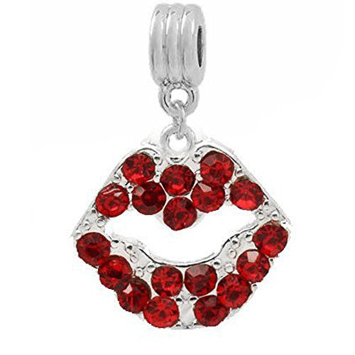 Red Rhinestone Lips Dangle European Bead Compatible for Most European Snake Chain Bracelets