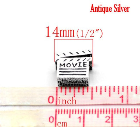 Movie Clapper Board Bead Charms for Snake Chain Charm Bracelet - Sexy Sparkles Fashion Jewelry - 3