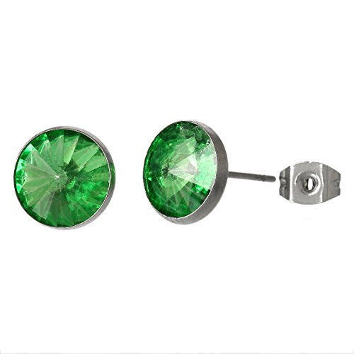 August Birthstone Stainless Steel Post Stud Earrings with  Rhinestone