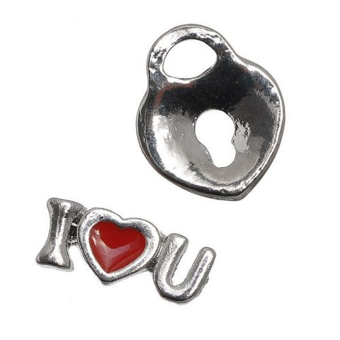 Set of 5 Floating Locket Charms (I Love You,heart Lock,lip/kiss,awareness Ribbon & Glass Drink) - Sexy Sparkles Fashion Jewelry - 2