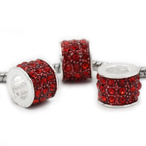 Red Sparkly Charm w/ Rhinestones for Snake Chain Charm Bracelets - Sexy Sparkles Fashion Jewelry - 3
