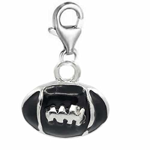Clip on Rugby Football Charm Dangle Pendant for European Clip on Charm Jewelry with Lobster Clasp - Sexy Sparkles Fashion Jewelry