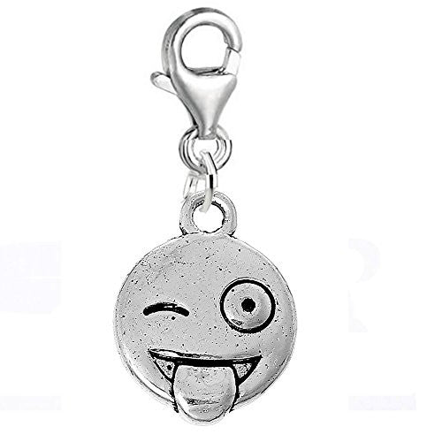 Facial Expression Clip on Pendant for European Charm Jewelry w/ Lobster Clasp (Tongue)
