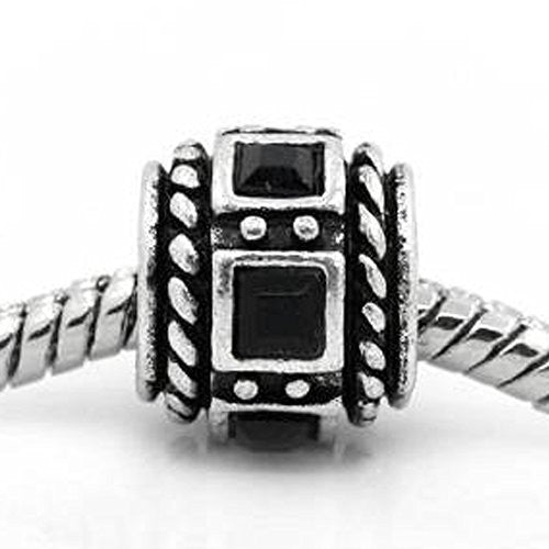 Black Crystal Charm Beads for Snake Chain Bracelets