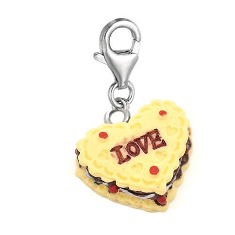Heart Love Cake Clip on Charm Pendant for European Charm Jewelry w/ Lobster Clasp - Sexy Sparkles Fashion Jewelry - 2