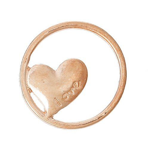 Love heart Rose Gold Tone Floating Charms Dish Plate for Glass Locket Pendants and Floating