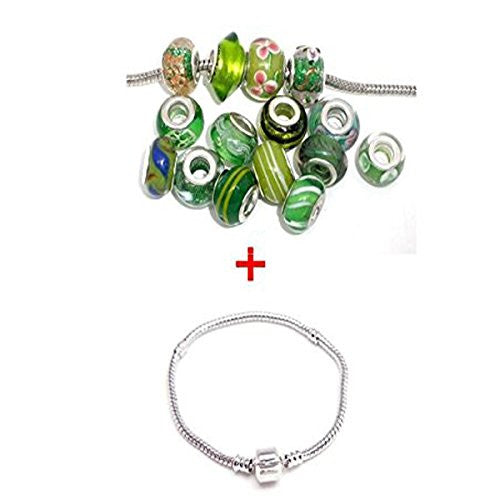 7.0 inch Bracelet + Ten Pack of Assorted Green Glass Lampwork, Murano Glass Beads