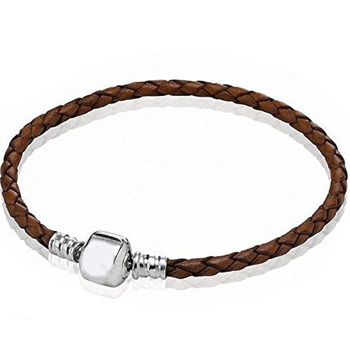 "6.5"" Brown High Quality Real Leather Bracelet fits european charms"