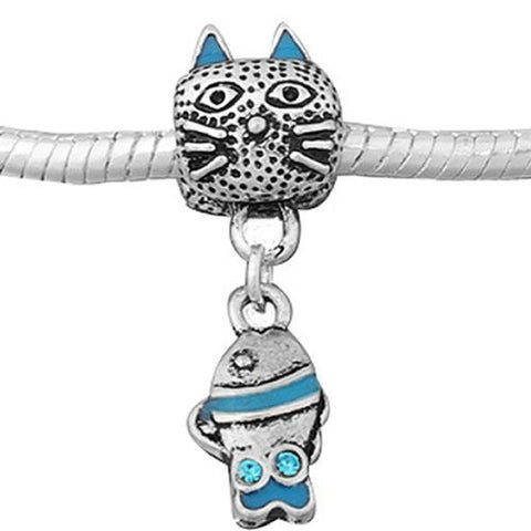 Blue Cat With Fish Bead Compatible for Most European Snake Chain Bracelet - Sexy Sparkles Fashion Jewelry - 2