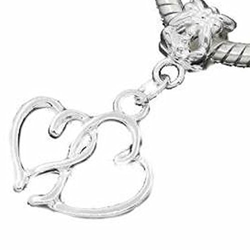 Hearts Charm Dangle Bead Spacer for Snake Chain Charm Bracelet