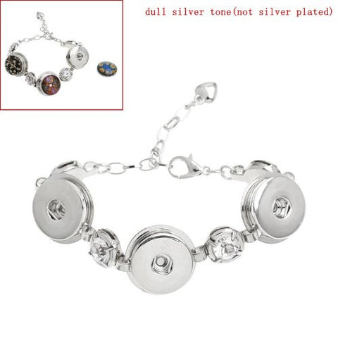 Chunk Lobster Clasp Bracelet Silver Tone Clear Rhinestone & Extender Chain Fit Snaps Chunk Buttons 16.5cm - Sexy Sparkles Fashion Jewelry - 2