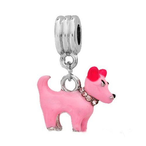 Beautiful 3D Pink Enamel Dog W/Pink  Rhinestone Collar Dangle European Bead Compatible for Most European Snake Chain Charm Bracelet - Sexy Sparkles Fashion Jewelry - 2